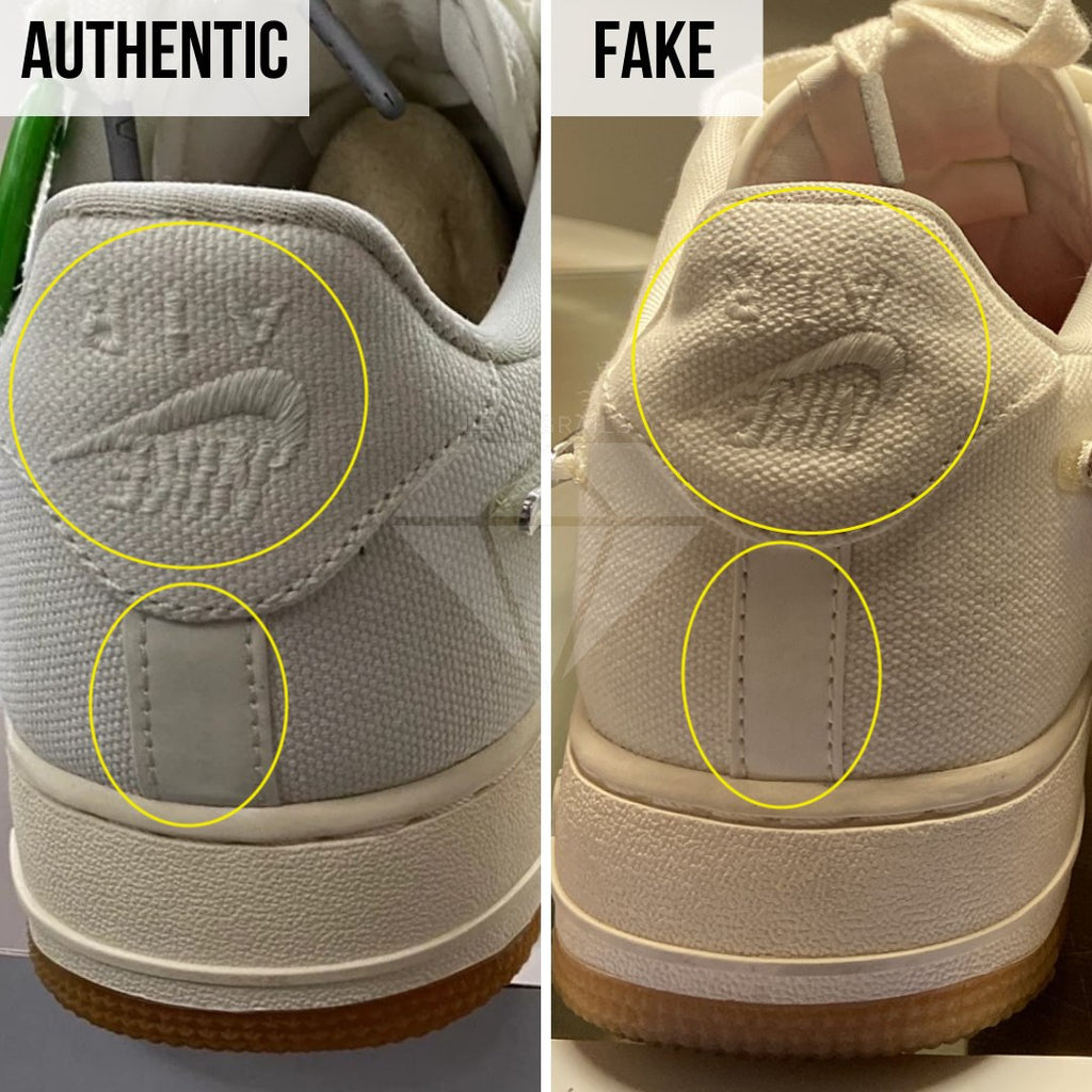 How to legit check Air Force 1 Travis Scott Sail: The Heel Method