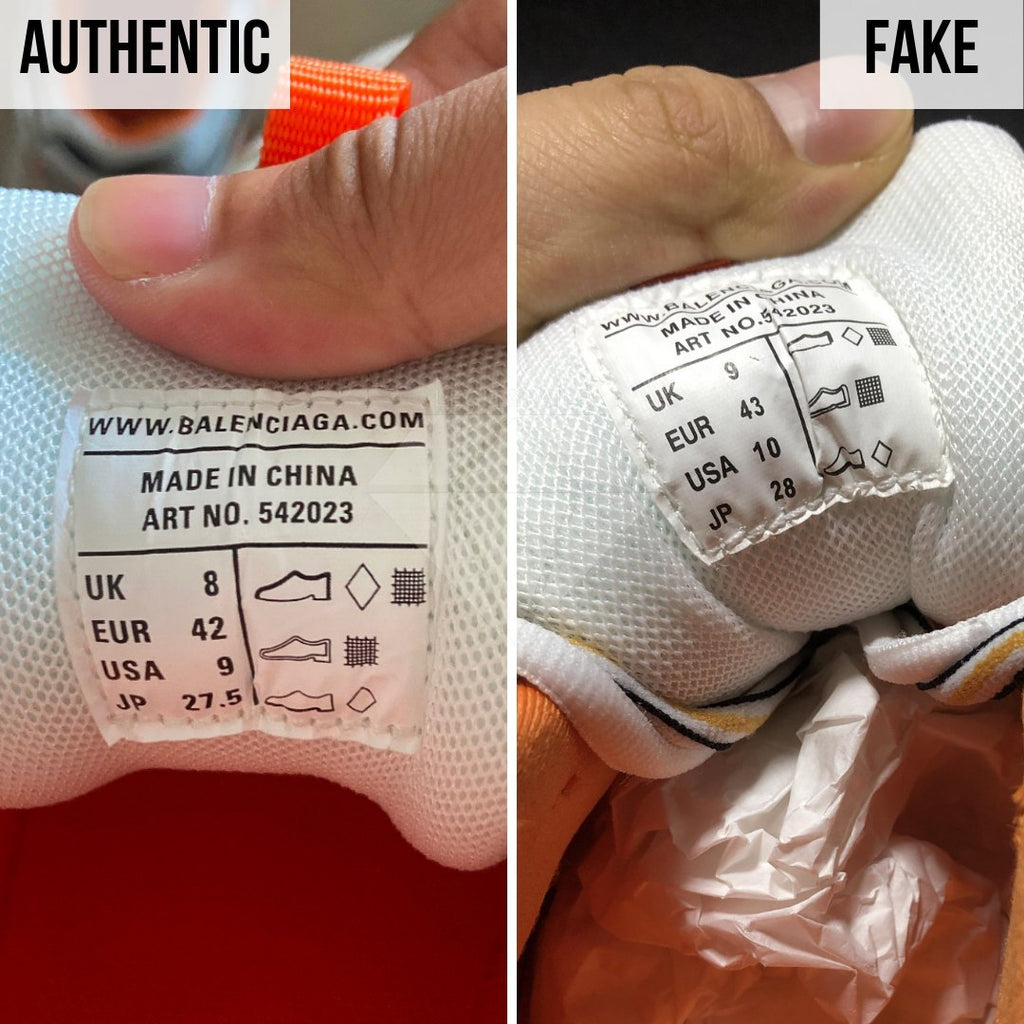 How To Spot Fake Balenciaga Track Sneakers: Different Tongue Tags