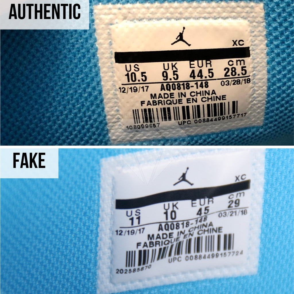 Jordan 1 Off White UNC Fake vs Real Guide: The Size Tag Method
