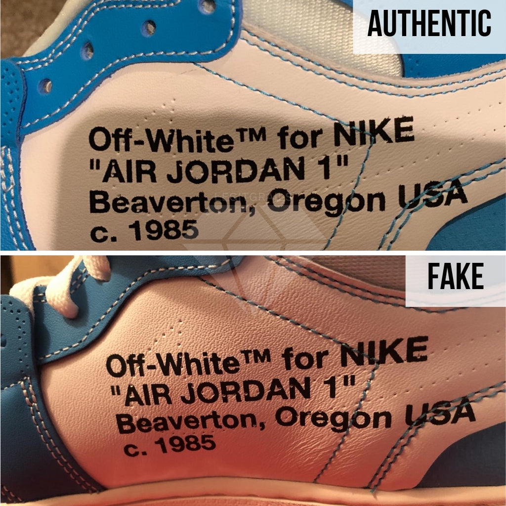 Jordan 1 Off White UNC Fake vs Real Guide: The Stitching Method