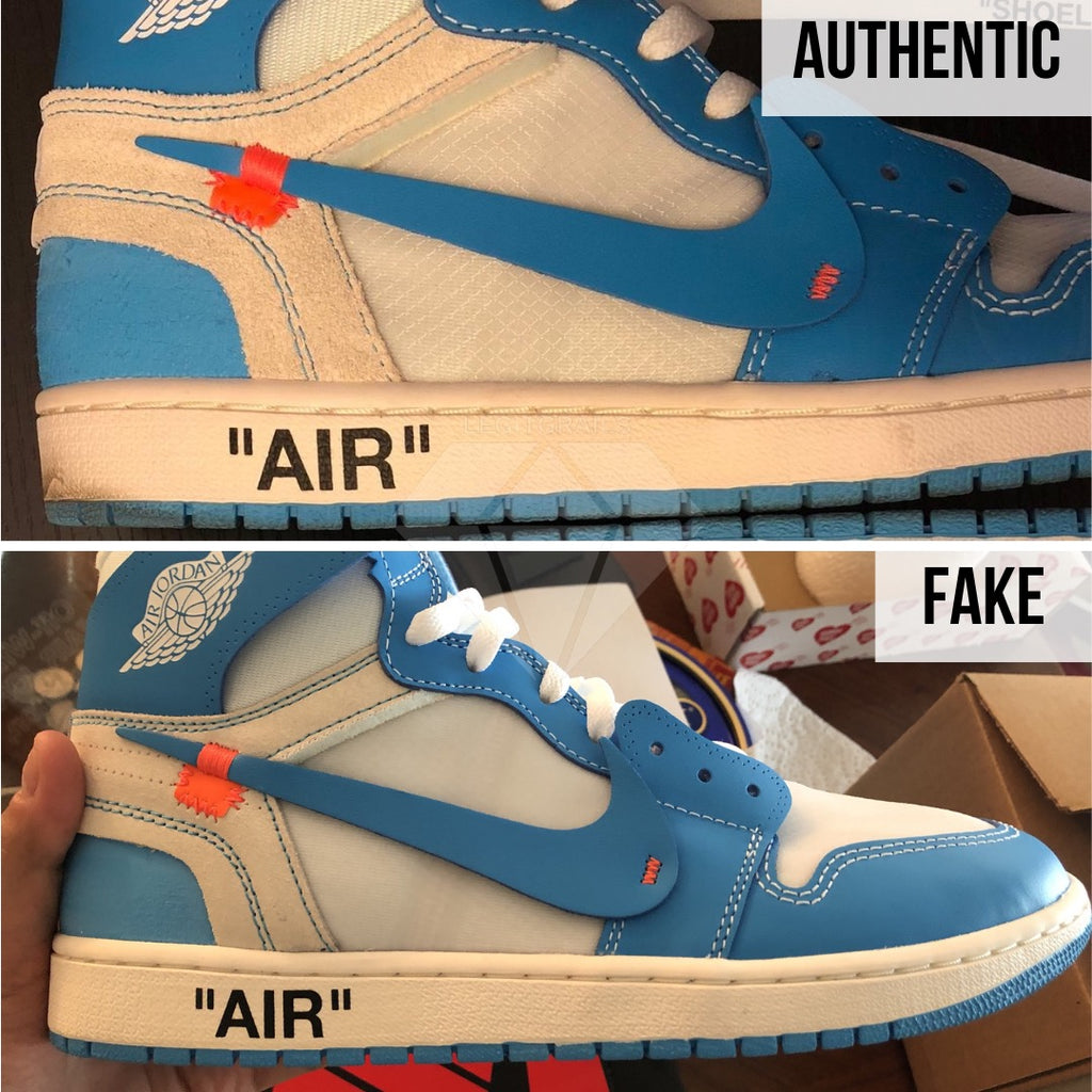 Jordan 1 Off White UNC Fake vs Real Guide: The Outer Swoosh Method