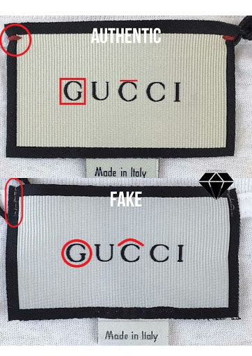 How to legit check a Gucci T-shirt | Gucci T-shirt Real vs Fake: The front side of a neck tag method