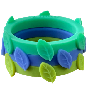 Nestable Mint Julep Leaf Bundle Green and Blue Silicone Ring Set