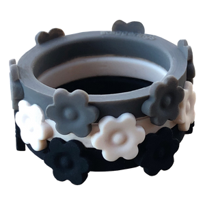 Nestable Granite Flower Bundle Stone Ivory and Midnight Silicone Ring Set Size 12