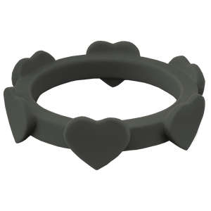 Stone Grey Heart Silicone Ring