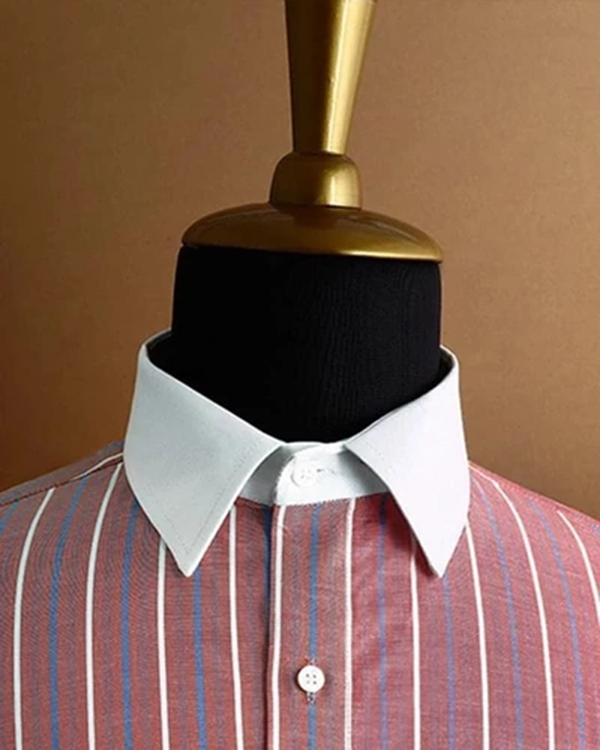 Blush Red Striped Dobby Shirt