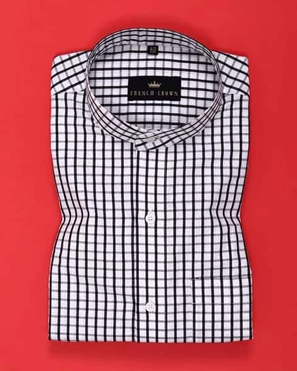 Black and White Checked Poplin Shirt