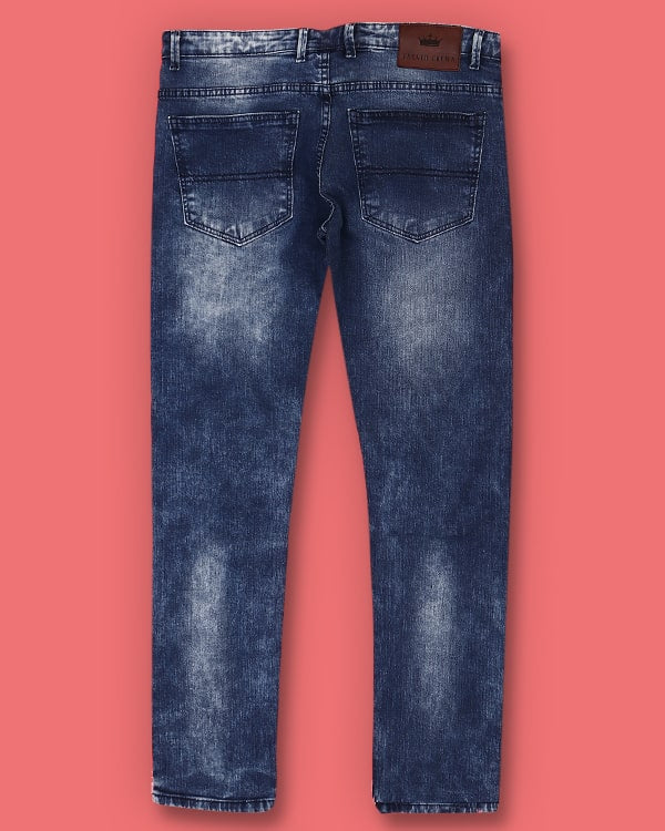 Sky Blue Regular Fit Acid wash Stretchable Jeans