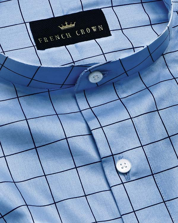 Sky Windowpane Checked Premium Cotton Shirt