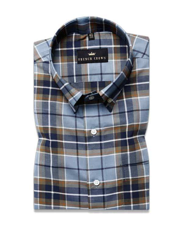 Blue and Olive Plaid Premium Cotton Oxford Shirt