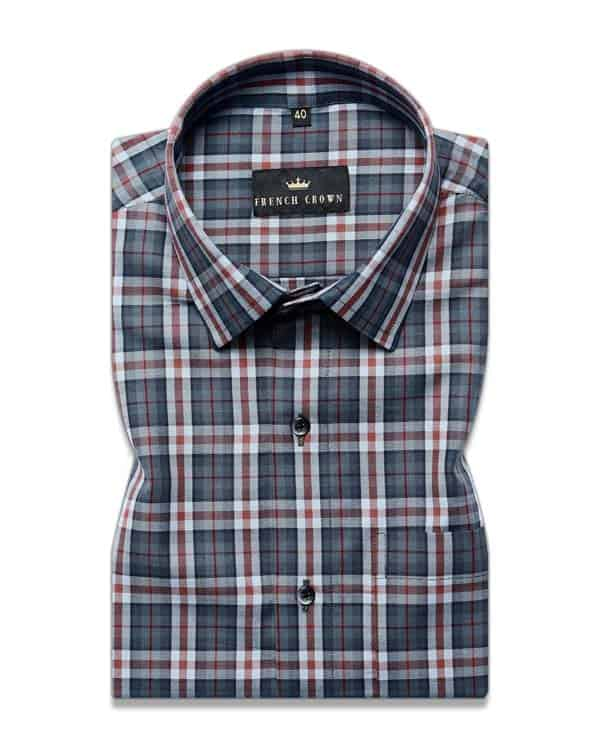 Grey with Maroon Plaid Premium Cotton SHIRT