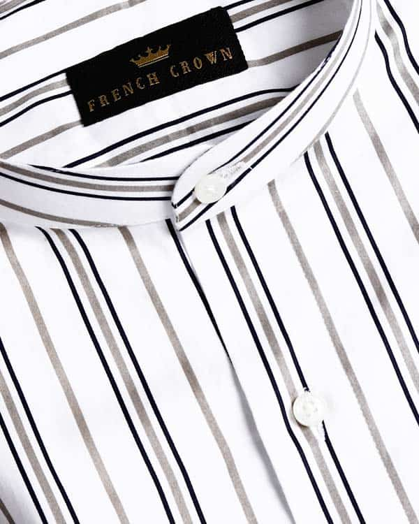 White with Olive and Black Striped Ultra soft Giza Cotton SHIRT