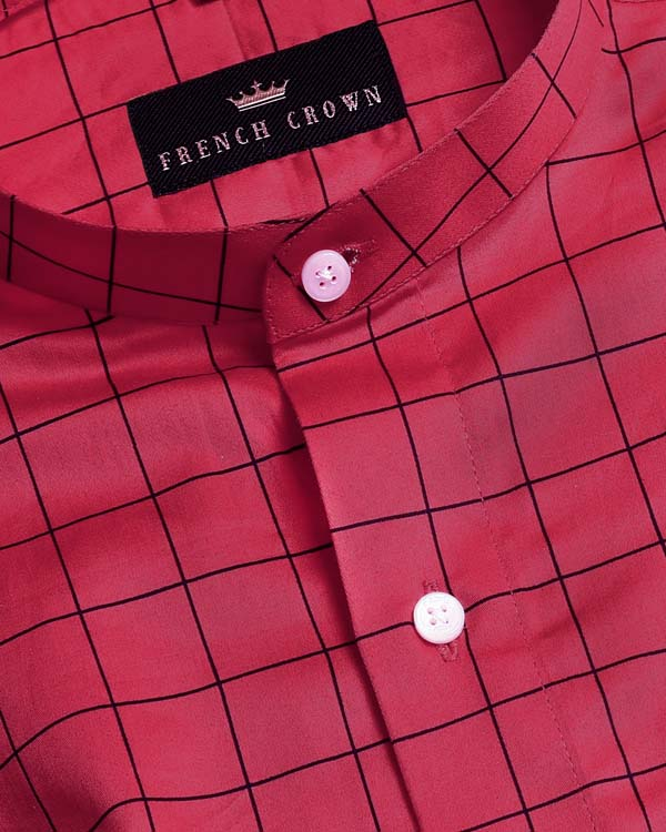 Magenta Windowpane Checked Premium Cotton Shirt