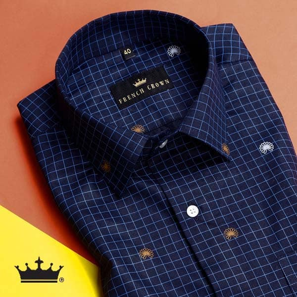 Blue Checked and Printed Premium Cotton Shirt