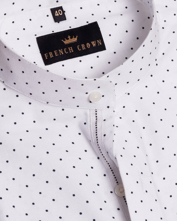 Bright White Deco Dotted Oxford Shirt
