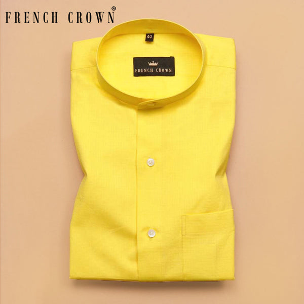 Bright Yellow Textured Oxford Shirt