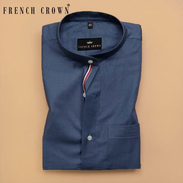 Steel Blue Mandarin Collar Oxford Shirt