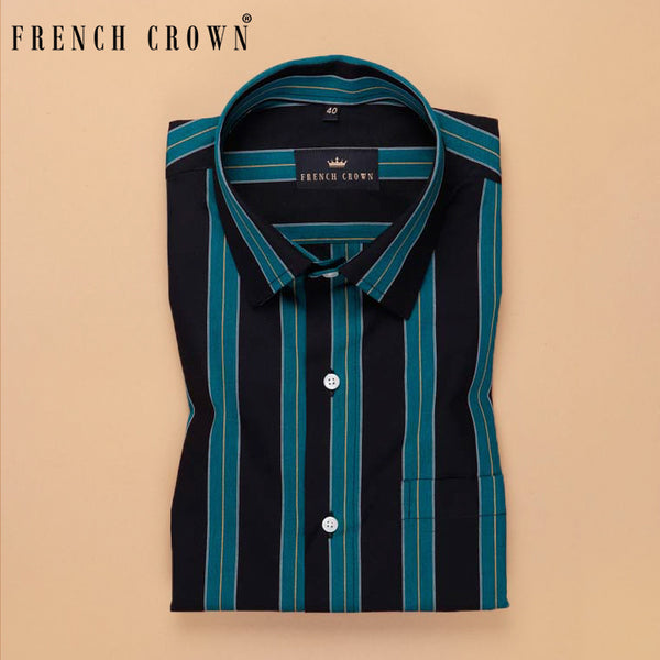 Black with Green Striped Premium Cotton Shirt
