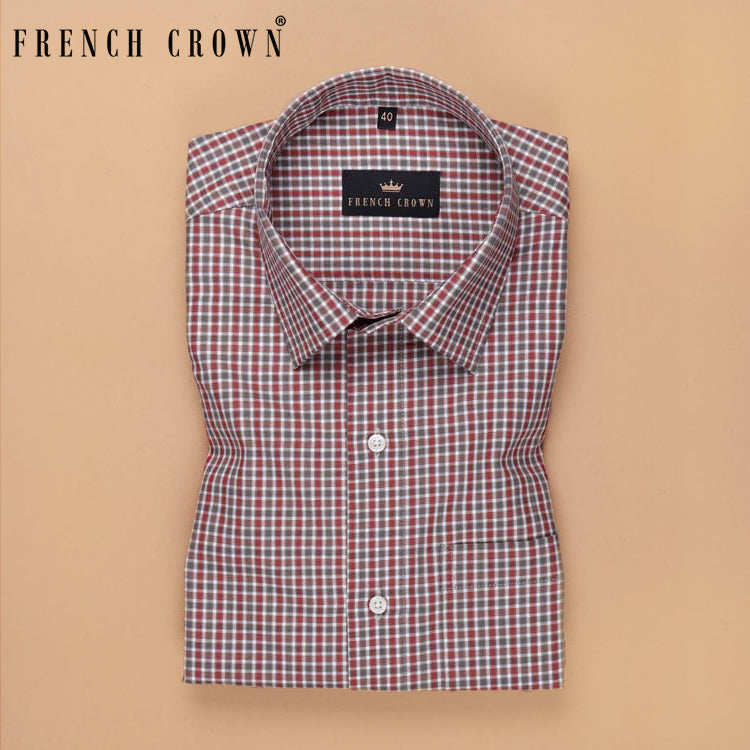 Performance Scarlet, Green and Brown Small Checked shirt