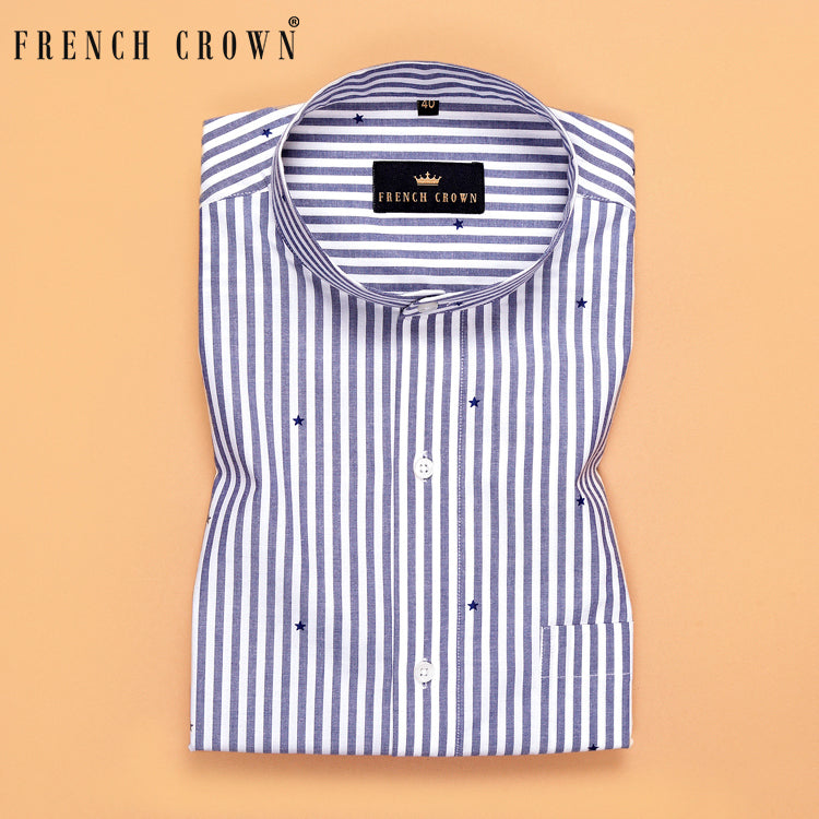 Blue Striped Star Printed Premium Cotton Shirt