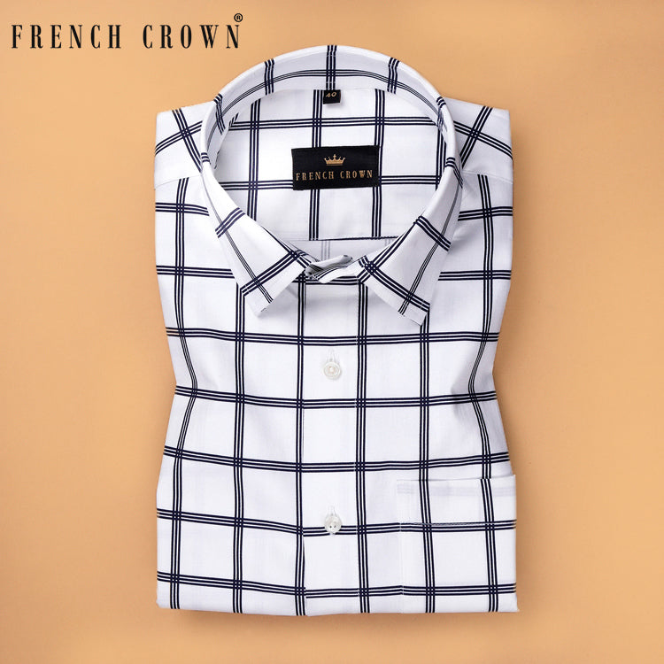 Bright White Navy windowpane Ultra soft Giza Cotton SHIRT