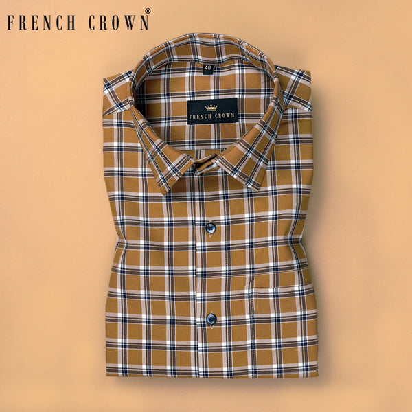Brown with Blue and white Plaid Premium Cotton SHIRT