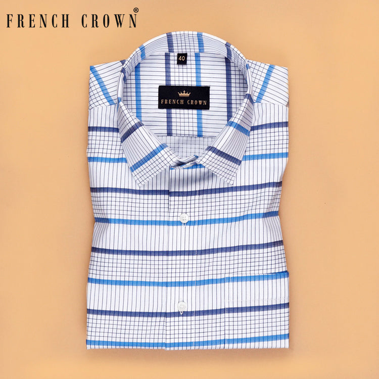 White with Blue Plaid Premium Cotton SHIRT