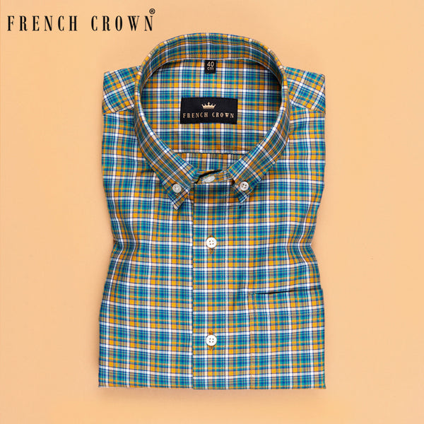 Green with Yellow and Blue Plaid Premium Cotton SHIRT