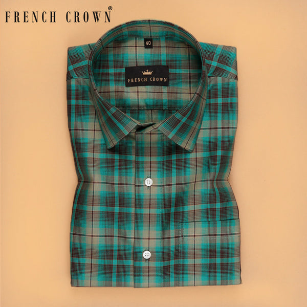 Green Multi-checked Premium Cotton shirt