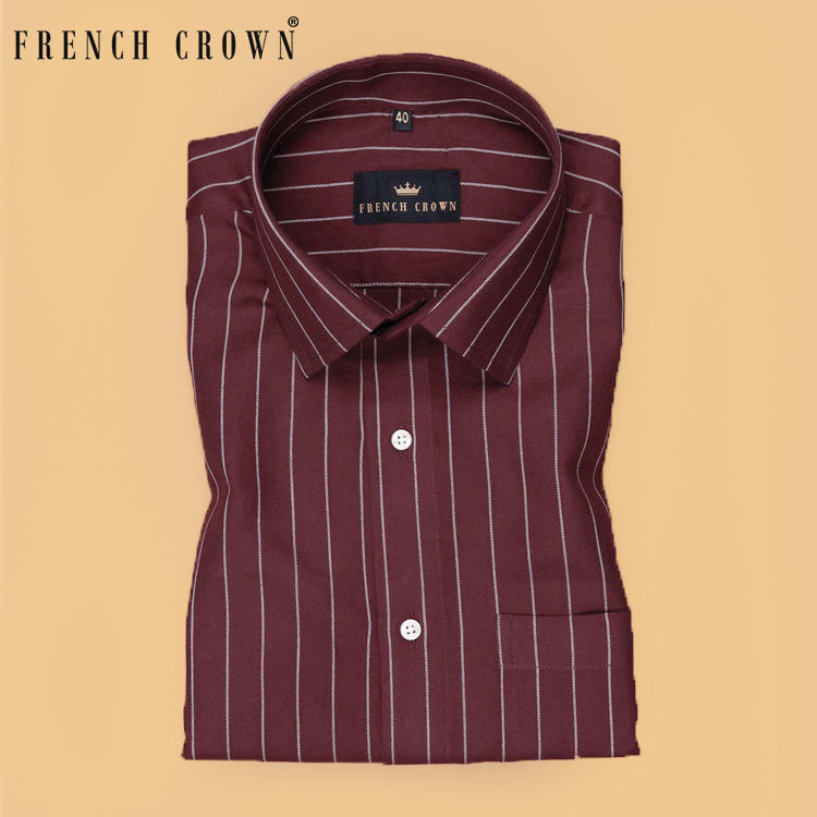 Maroon Striped Premium Cotton SHIRT