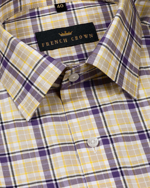 Cream and purple Checked Premium Cotton SHIRT