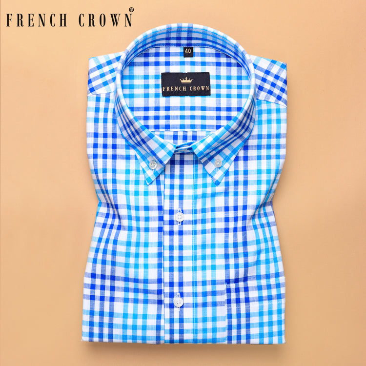 Blue Multi-Checked Premium Cotton SHIRT