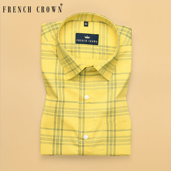 Yellow Checked Ultra soft Giza Cotton SHIRT