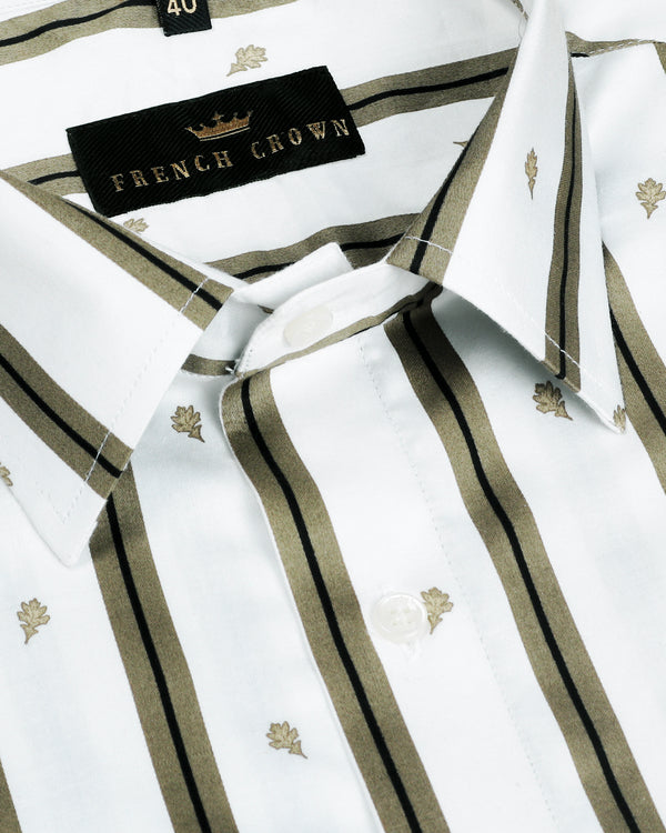White with Olive Stripes Printed Super Soft Giza Cotton SHIRT