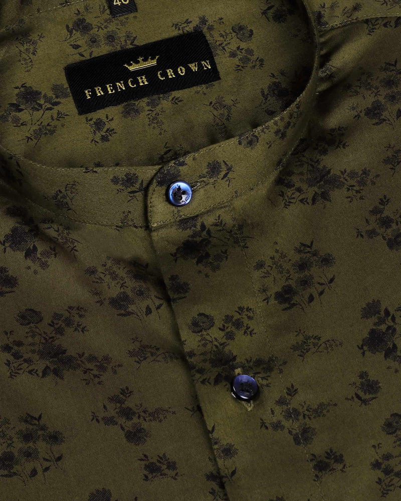 Pickle Green Micro Leaves and flowers Printed Satin Shirt