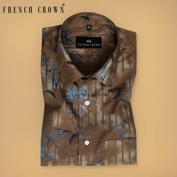 Brown with blue Flower Printed Soft Cotton Shirt