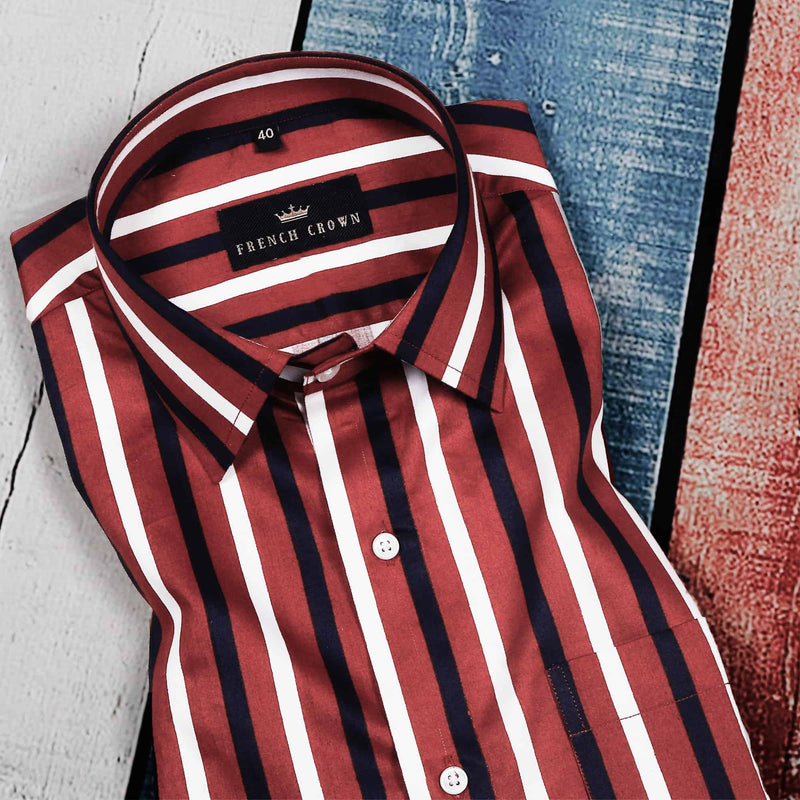 Maroon Striped Silky Soft Cotton Shirt