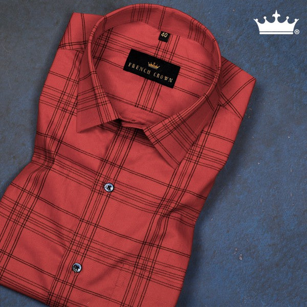 Red Checked Ultra soft Giza Cotton SHIRT