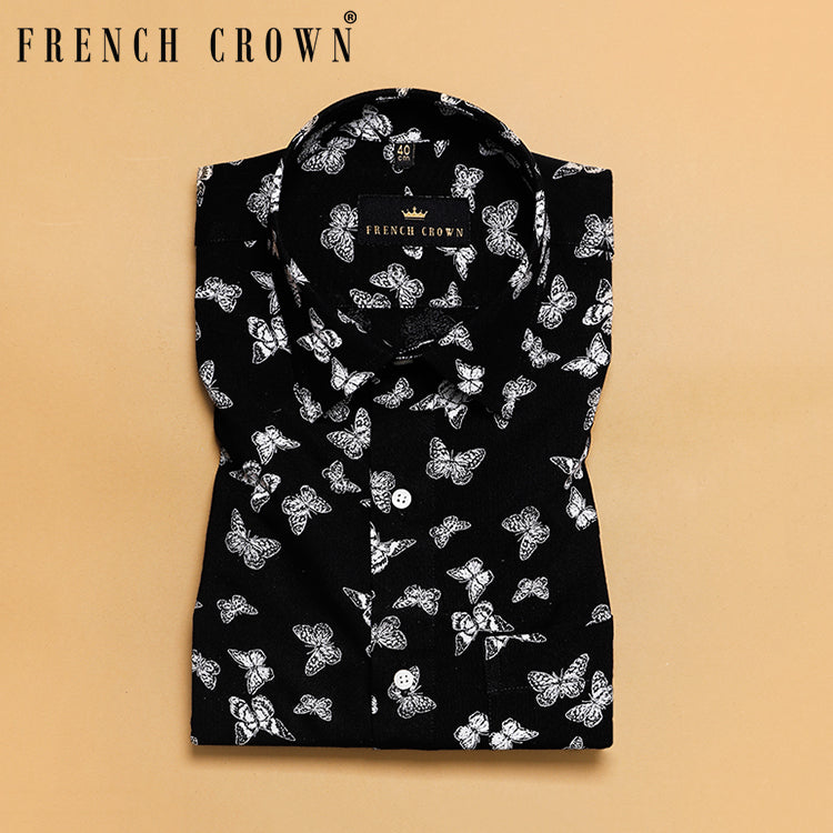 Black Butterfly Printed Ultra soft Giza Cotton SHIRT