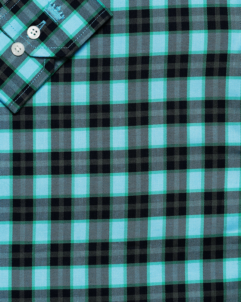 Blue with Green, black and Brown Plaid Premium Cotton SHIRT
