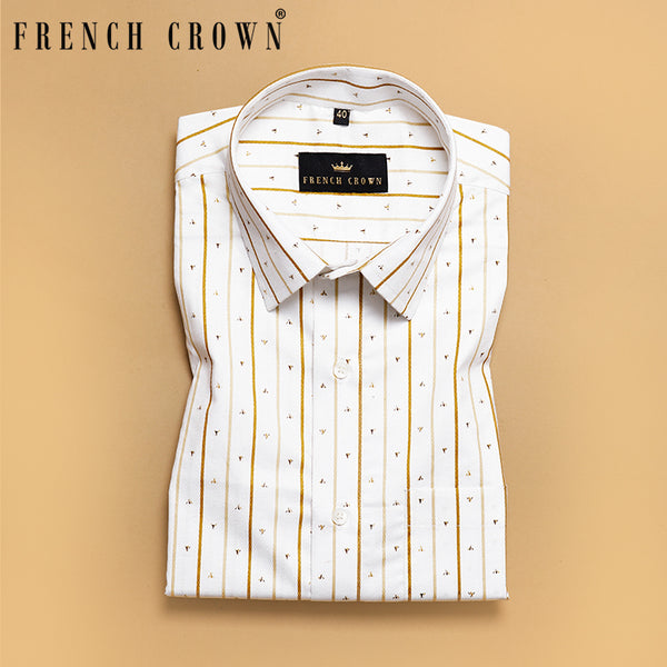 White with Brown Broad Striped Ultra soft Cotton Shirt