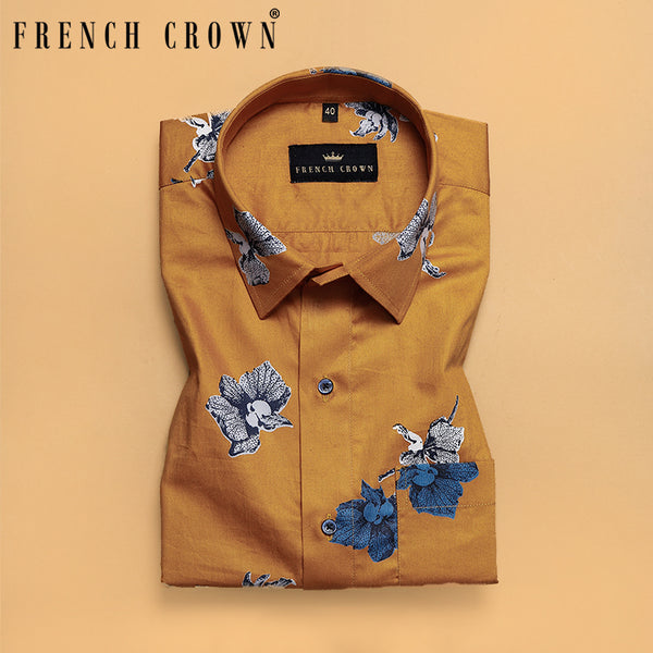 Tiger Orange Bold Flower Printed Premium Cotton Shirt
