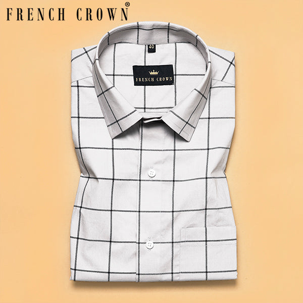 Grey Checked Premium Cotton Shirt