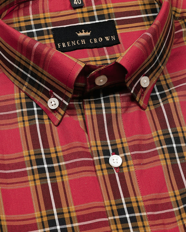 Red with Mustard Checked Premium Cotton SHIRT