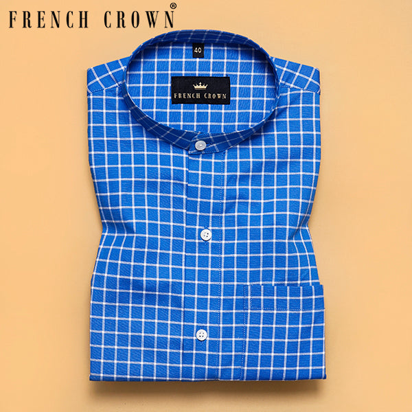 Blue Checked Premium Cotton Shirt
