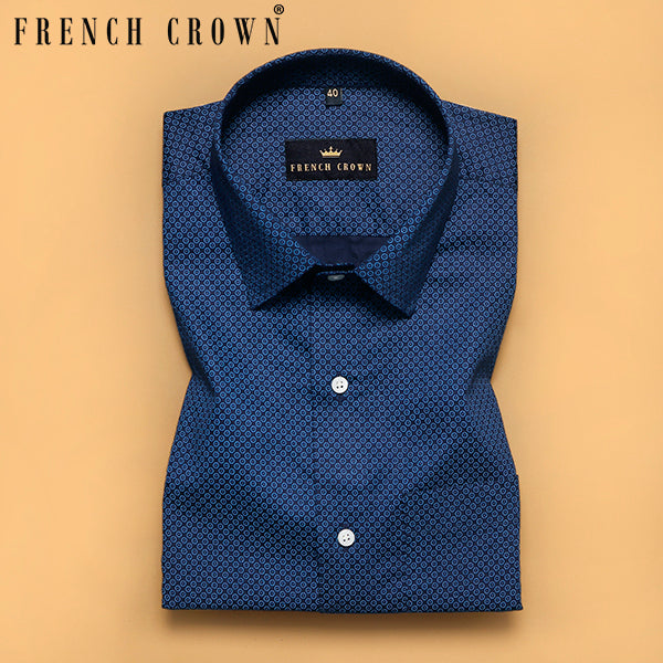 Navy Micro Circle Printed Premium Cotton SHIRT