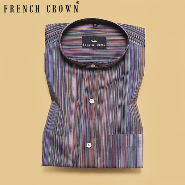 Multi-color Micro Striped Poplin Shirt