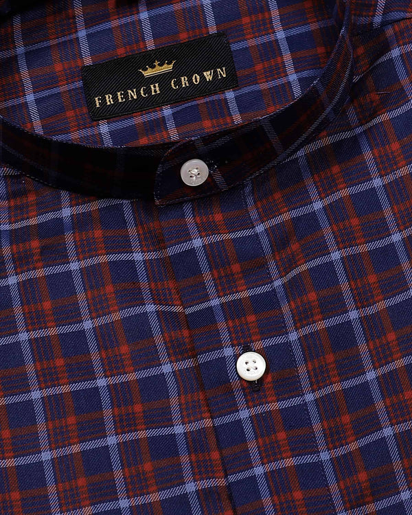 Blue with Red Checked Premium Cotton SHIRT