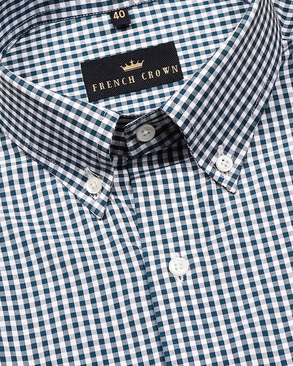 Green Micro checked Premium Cotton Shirt