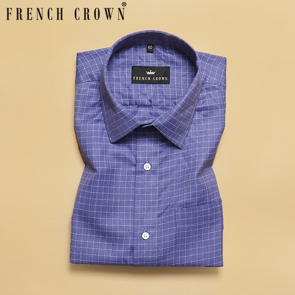 Blue Windowpane Herringbone Premium Cotton SHIRT